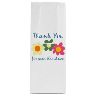 Bright White Thank You Flower Wine Gift Bag
