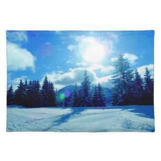 Bright winter landscape snow placemat