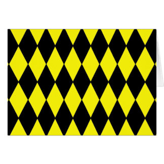 Bright Yellow and Black Diamond Harlequin Pattern Card
