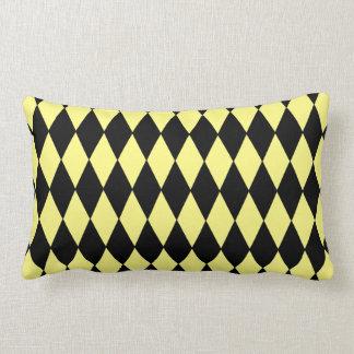 Bright Yellow and Black Diamond Harlequin Pattern Cushions