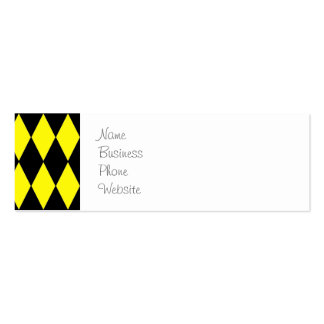 Bright Yellow and Black Diamond Harlequin Pattern Pack Of Skinny Business Cards