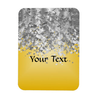 Bright yellow and faux glitter flexible magnets