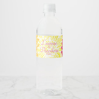 Bright Yellow and Pink Colored Mums Water Bottle Label
