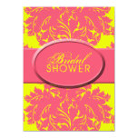 Bright Yellow and Pink Damask Invitations
