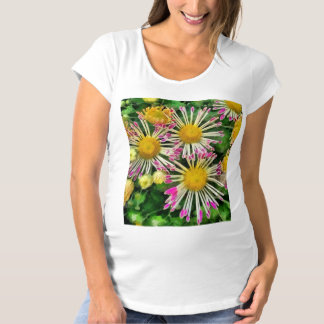 Bright yellow and pink flowers maternity T-Shirt