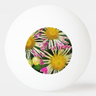 Bright yellow and pink flowers ping pong ball