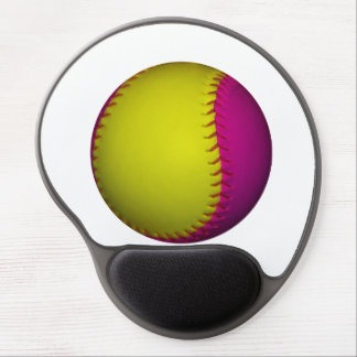 Bright Yellow and Pink Softball Gel Mouse Mat