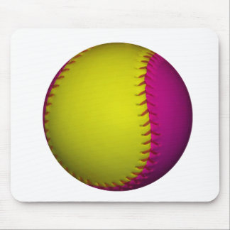 Bright Yellow and Pink Softball Mouse Pad