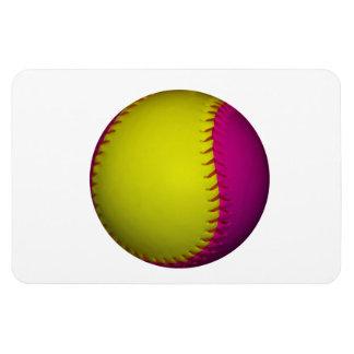 Bright Yellow and Pink Softball Rectangular Photo Magnet