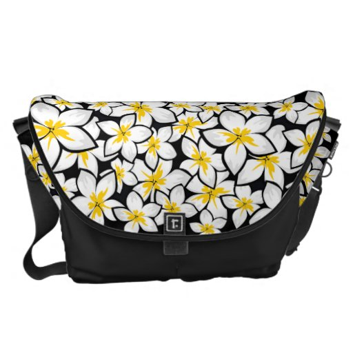 Bright yellow and white frangipani art on black messenger bags