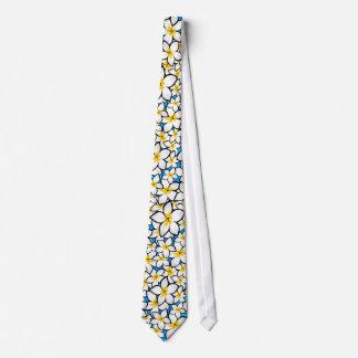 Bright yellow and white frangipani art tie
