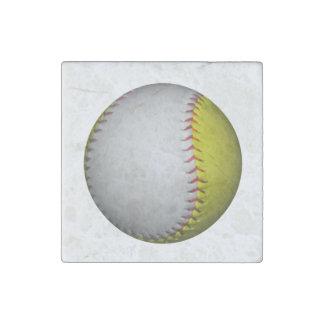 Bright Yellow and White Softball Stone Magnet