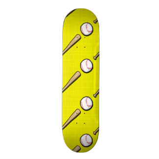 Bright Yellow Baseball Pattern Skate Deck