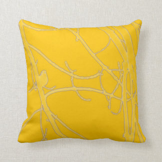 Bright yellow bird in branches cushion