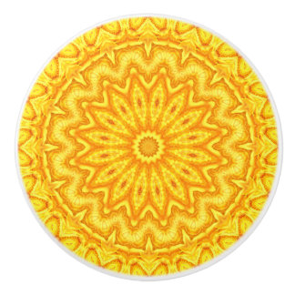 Bright Yellow Boho Chic Mandala Ceramic Knob