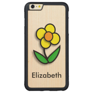Bright Yellow Buttercup Graphic Carved Maple iPhone 6 Plus Bumper Case