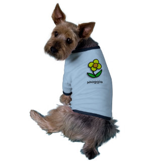 Bright Yellow Buttercup Graphic Ringer Dog Shirt