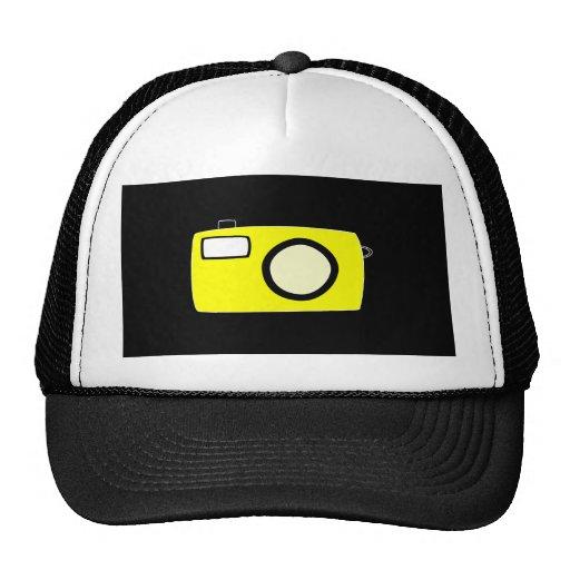 Bright Yellow Camera. On Black. Mesh Hats