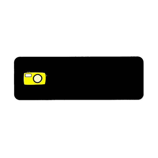 Bright Yellow Camera. On Black. Return Address Label