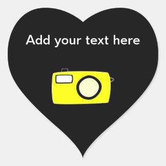 Bright Yellow Camera. On Black. Heart Stickers