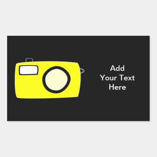 Bright Yellow Camera. On Black. Rectangular Sticker