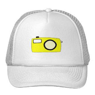 Bright Yellow Camera On White Hats