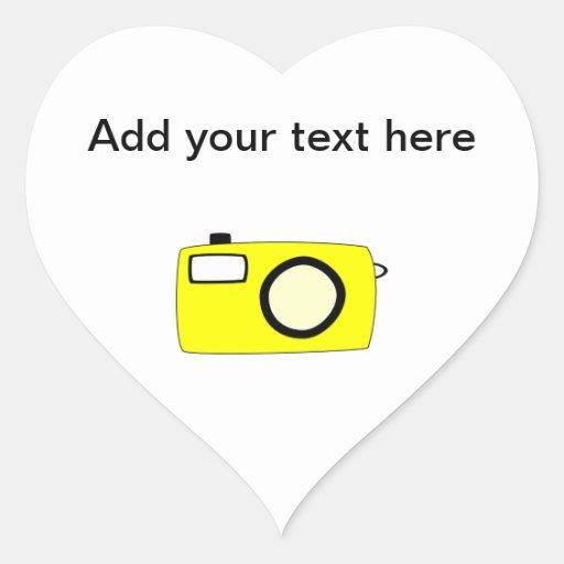 Bright Yellow Camera. On White. Heart Stickers