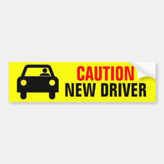 Bright Yellow Caution New Driver Bumper Sticker