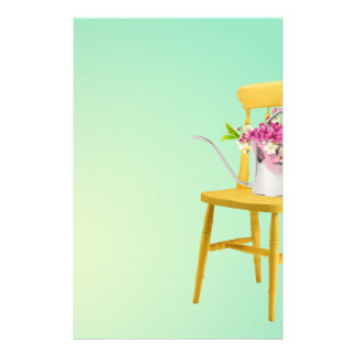 Bright Yellow Chair With Watering Can of Flowers Stationery