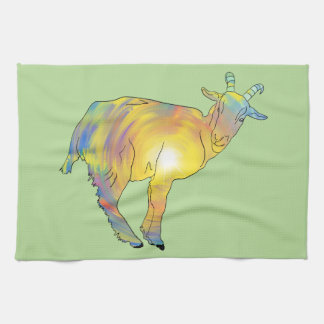 Bright Yellow colourful Goat Funny Animal Design Tea Towel