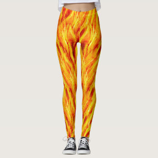 Bright yellow fire flames hot fun Leggings