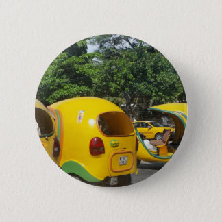 Bright yellow fun coco taxis from Cuba 6 Cm Round Badge
