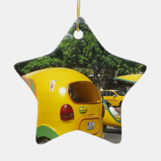 Bright yellow fun coco taxis from Cuba Ceramic Star Decoration