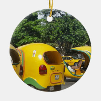 Bright yellow fun coco taxis from Cuba Round Ceramic Decoration