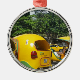 Bright yellow fun coco taxis from Cuba Silver-Colored Round Decoration
