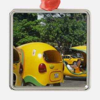 Bright yellow fun coco taxis from Cuba Silver-Colored Square Decoration