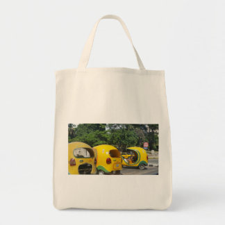Bright yellow fun coco taxis from Cuba Tote Bag