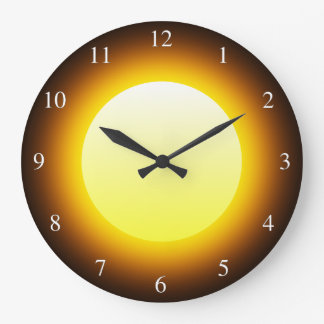 Bright Yellow Glowing Sun on Black Small Numbers Large Clock