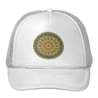 """Bright Yellow, Green & Blue """"MetaMetta Mandala I"""" Cap"""