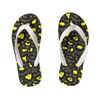 Bright Yellow Grey Cheetah Thongs