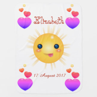 Bright Yellow Happy Sun and Pink Hearths Baby Blanket