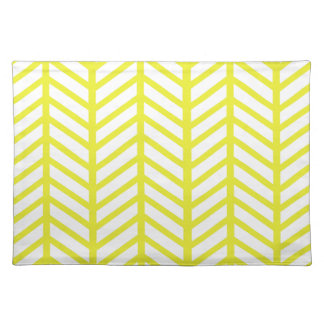 bright yellow herringbone placemat