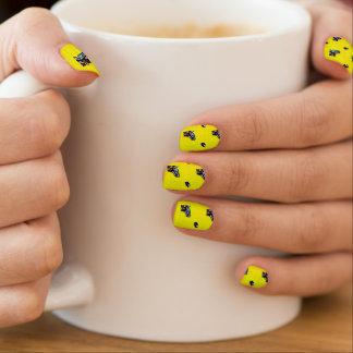 Bright Yellow Hockey Pattern Minx Nail Art