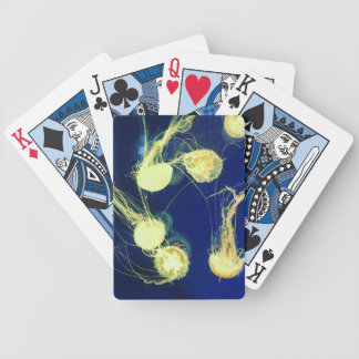 Bright Yellow Jellyfish Bicycle Playing Cards