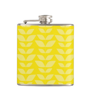 Bright Yellow Leaves Pattern Flask