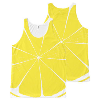 Bright Yellow Lemon Citrus Fruit Slice Design All-Over Print Singlet