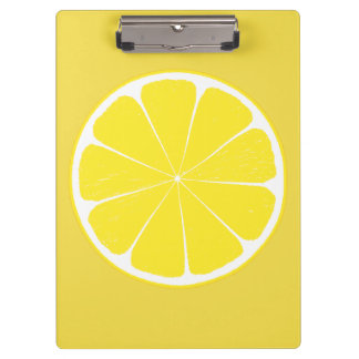 Bright Yellow Lemon Citrus Fruit Slice Design Clipboard