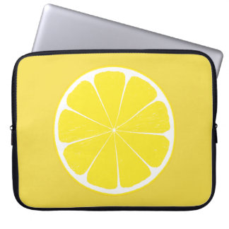 Bright Yellow Lemon Citrus Fruit Slice Design Laptop Sleeve