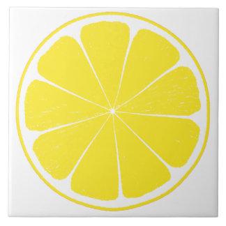 Bright Yellow Lemon Citrus Fruit Slice Design Large Square Tile