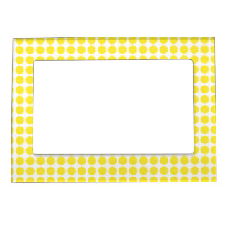 Bright Yellow Lemon Citrus Fruit Slice Design Magnetic Frame